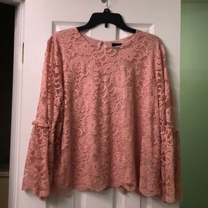 Worthington light pink lace top